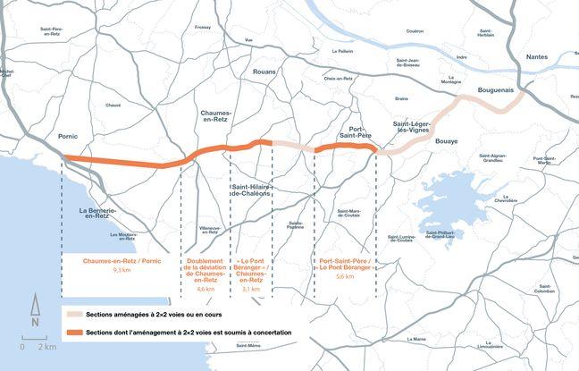 Carte des portions concernées par la concertation Nantes-Pornic