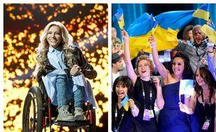 Ioulia Samoïlova, chanteuse choisie pour représenter la Russie à l'Eurovision 2017 et l'Ukrainienne Jamala (robe bleue), qui a remporté l'Eurovision 2016.