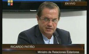 Ricardo Patiño, ministre équatorien des Affaires étrangères, le 16 août 2012 à Quito.