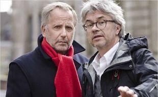 Fabrice Luchini et Christian Vincent sur le tournage de L'Hermine.