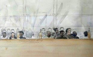 Dessin d'audience représentant une partie des 13 accusés de  l'agression de policiers brûlés au cocktail Molotov à Viry-Châtillon en 2016, le 15 octobre 2019, lors de leur procès en première instance à la cour d'assises de l'Essonne, à Évry.