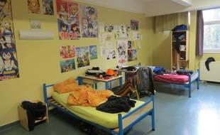 Une chambre de  l'internat du lycée André-Malraux à Montereau-Fault-Yonne, en Seine-Et-Marne (77).