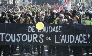 Lors de la manifestation des «gilets jaunes» samedi 16 février à Nantes.
