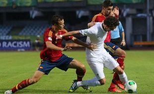 Le milieu de terrain de l'équipe de France des 19 ans,Adrien Rabiot, en 1/2 finale de l'Euro contre l'Espagne, le 29 juillet 2013 en Lituanie.