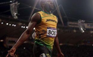 Usain Bolt, le 5 août 2012, après la finale du 100m lors des Jeux olympiques de Londres.