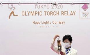La gouverneure de Tokyo Yuriko Koike a accueilli la flamme olympique le 9 juillet 2021.