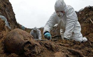 Un archéologue dégage de la terre un squelette lors de fouilles, le 28 novembre 2014 à Przemysl, près de l'ancien camp de prisonniers de guerre, dans l'Est de la Pologne