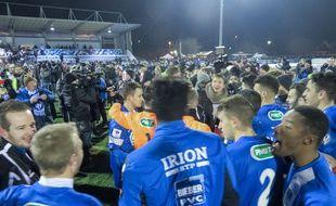 Sarre-Union, le 19 janvier 2016. - Sarre-Union (CFA) bat Niort (L2) (1-0) en 16e de finale de la Coupe de France. Le club amateur bas-rhinois accède pour la première fois les 8es de finale de la compétition et joue Lorient (L1), ce mercredi.