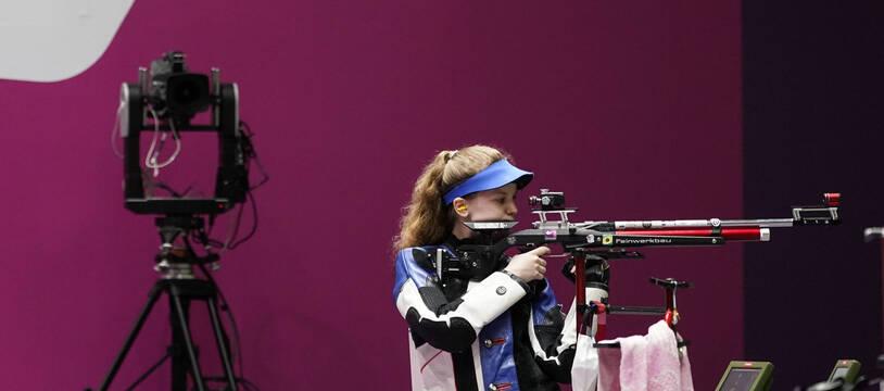 La Française Océanne Muller à l'entraînement au tir sportif, le 23 juillet 2021.
