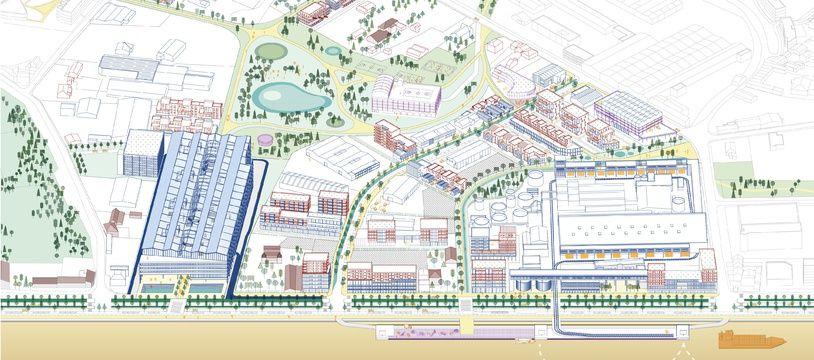 Le projet s'étend sur 40 hectares , autour des pôles économiques que sont la papeterie et Colis Poste.