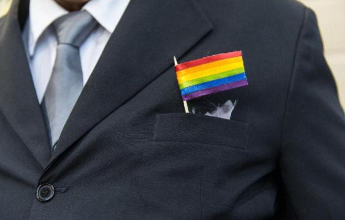 Un drapeau arc-en-ciel sur un costume lors d'un mariage entre deux hommes – Yasuyoshi Chiba AFP