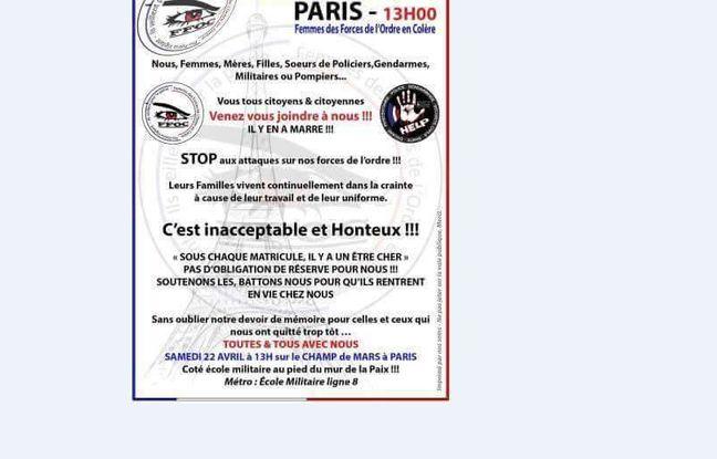 Tract diffusé sur les réseaux sociaux appelant les femmes de policiers à manifester à Paris