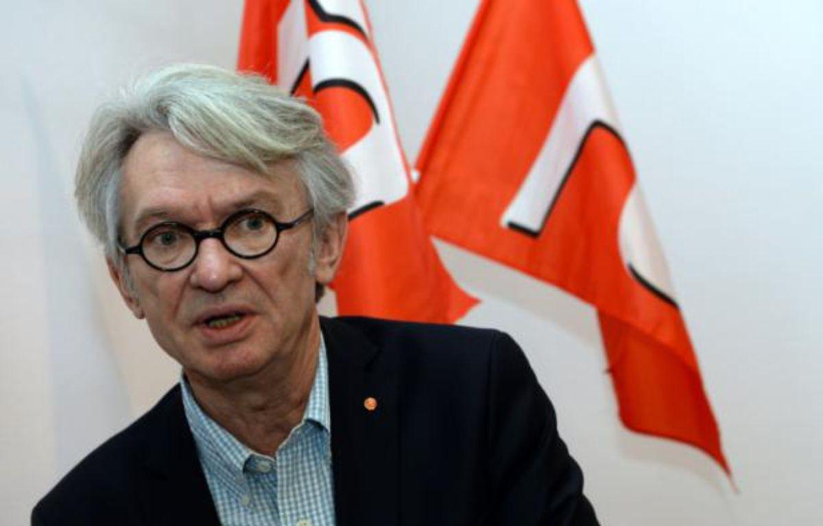 Jean-Claude Mailly, secrétaire général du syndicat Force Ouvrière (FO), à Bordeaux, le 1er mai 2015. – Jean-Pierre MULLER AFP