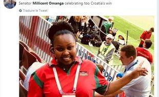 Millicent Omanga assistant au match de football opposant l'Angleterre à la Croatie le 11 juillet 2018.