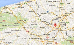 Google map de Lomme, près de Lille.