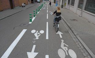 En pourcentage d'utilisateurs, Strasbourg est la capitale française du vélo, pour plusieurs raisons, pas seulement liées aux aménagements de pistes. Illustration