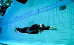 Morgan Bourc'his alterne les entraînements en mer et les séances en piscine.