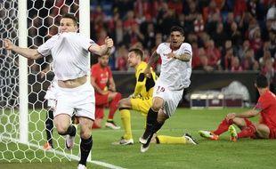 Bâle, le 18 mai 2016. - Kevin Gameiro, premier buteur du FC Séville face à Liverpool en finale de la Ligue Europa (3-1). C'est le troisième sacre consécutif du club andalou et de l'attaquant français dans cette compétition.