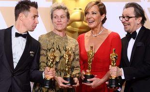 Sam Rockwell, Frances McDormand, Allison Janney  et Gary Oldman primés aux Oscars 2018.