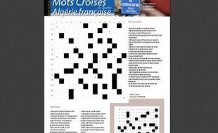 Capture d'écran de l'édition PDF du journal municipal de Béziers du 1er avril 2015, qui propose des «mots croisés Algérie française».