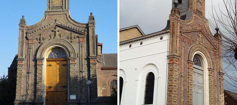 L'église de La Sentinelle en 2014 (à gauche), puis en en 2017, après les travaux. Cherchez l'erreur!