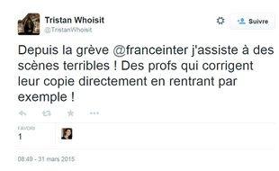 Tweet sur la grève de Radio France