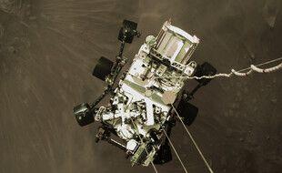 Photo du rover de la Nasa Perseverance juste avant son atterrissage sur Mars, le 18 février 2021.