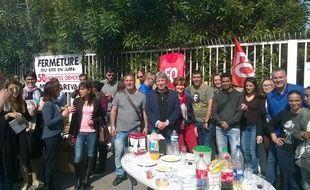 Les salariés d'Aerofarm lors de leur grève