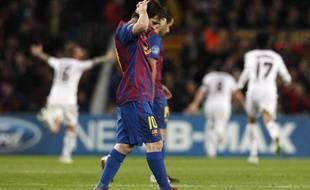 Lionel Messi, de Barcelone, lors de l'élimionation de son équipe en demi-finale de la Ligue des champions, contre Chelsea, le 24 avril 2012, au Camp Nou.