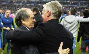 Noël Le Graet, le président de la FF, avec Didier Deschamps, le 19 novembre 2013? au Stade de France.
