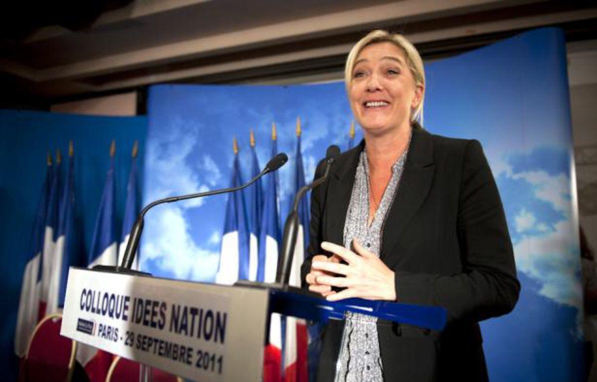 Marine Le Pen, présidente du Front national, lors de son discours sur l'éducation au club Idées-Nation, le 29 septembre 2011 à Paris. – V. WARTNER/20 Minutes