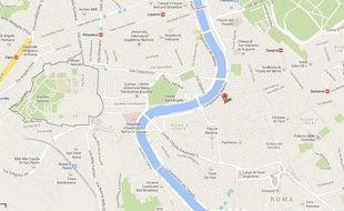 Capture d'écran Google map du vicolo della Campana, à Rome.