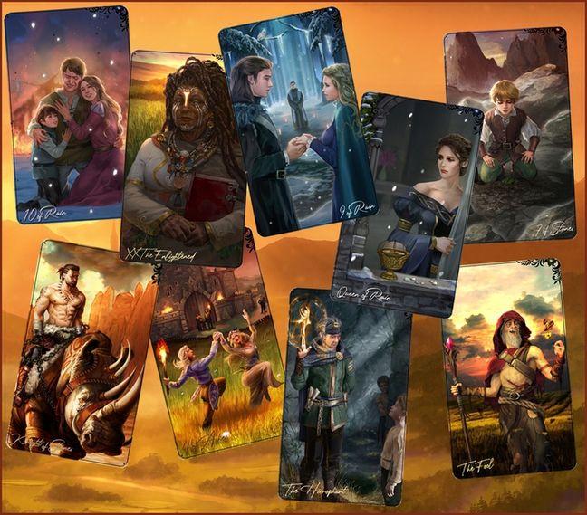 Neuf cartes du jeu de tarot divinatoire revisité de Sébastien Weiss.