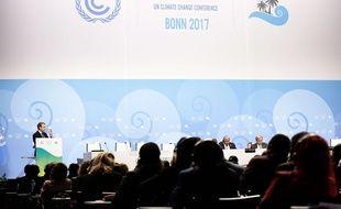 Le president de la republique francaise, Emmanuel Macron durant le sommet de la COP23  Bonn, Allemagne, le 15 novembre 2017.
