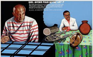 Chéri Samba, « Quel avenir pour notre art? », 1997. Visible au Musée du Quai Branly, pour l'exposition « Ex Africa ».