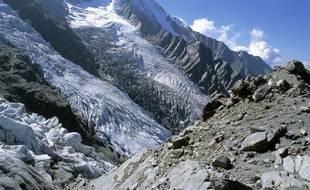 Le glacier des Bossons, dans le massif du Mont-Blanc.