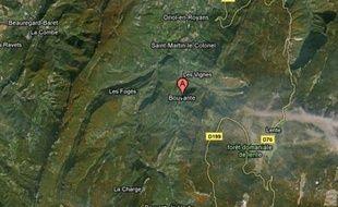 Carte de localisation de Bouvante, dans la Drôme.