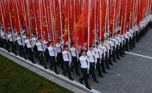 Défilé pour le 70e anniversaire du parti du e leader de la Corée du Nord Kim Jong-Un lors à Pyongyang, le 10 octobre 2015