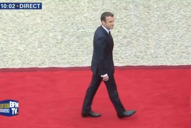 Capture d'écran BFMTV de l'arrivée d'Emmanuel Macron à l'Elysée le 14 mai 2017