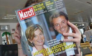 Michèle Laroque et François Baroin en une de Paris Match, le 1e avril 2010