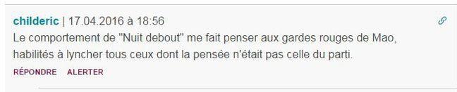 Sous l'article «VIDEO. Nuit Debout? Pour Marion Maréchal-Le Pen, c'est «un mouvement de jeunes lycéens étudiants qui se font plaisir, qui fument du pétard»