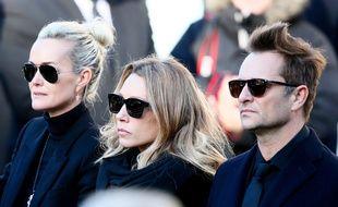 Laeticia Hallyday, Laura Smet et David Hallyday à l'enterrement à Paris de Johnny Hallyday le 9 décembre 2017