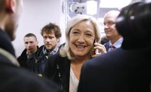 Marine Le Pen pendant les élections départementales, le 22 mars 2015.