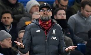 Jurgen Klopp lors de la défaite de Liverpool à Chelsea le 3 avril 2020.