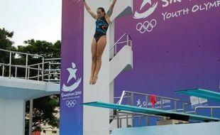 Pauline Ducruet, fille de Stéphanie de Monaco, plonge à Singapour lors des Jeux olympiques de la jeunesse, le 17 août 2010.