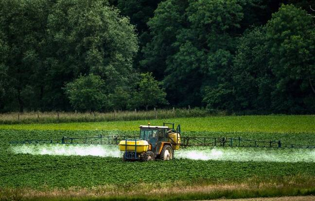 Illustration d'un épandage de pesticides.