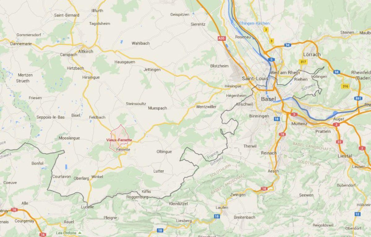 Un chef d'entreprise s'est immolé devant le siège de sa société de travaux publics à Vieux-Ferrette (Haut-Rhin, Alsace), ce vendredi. – Capture d'écran Google Maps