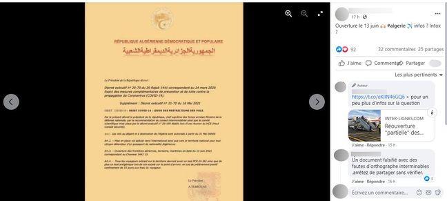 La présidence algérienne a bien annoncé une réouverture partielle des frontières du pays à partir du 1er juin, mais ce décret n'est pas authentique.