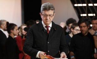Jean-Luc Mélenchon lors du premier débat télévisé sur TF1.