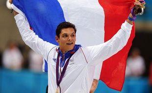 Le nageur français Florent Manaudou, sacré champion olympique du 50m nage libre, le 3 août 2012 à Londres.